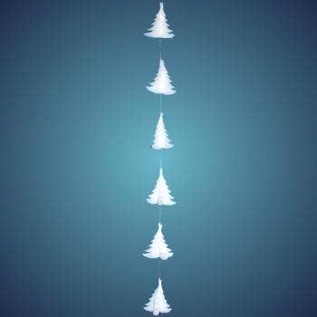 3D Tannengirlande aus schwer entflammbarer Schneewatte, Dicke: ~ 2 cm, 7 Tannen à 17 cm, Länge: ~ 180 cm