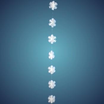 3D Flockengirlande aus schwer entflammbarer Schneewatte, Dicke: ~ 2 cm, 7 Flocken à 17 cm, Länge: ~ 180 cm