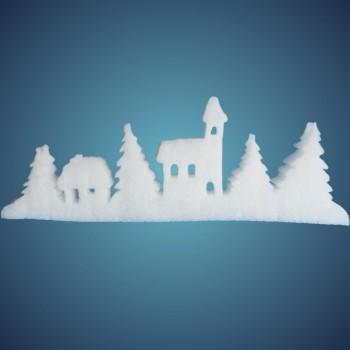 Schneedorf aus Filz, Größe: ~60 x 21 cm, Dicke: ~ 2 mm, 2 Stk./ Beutel