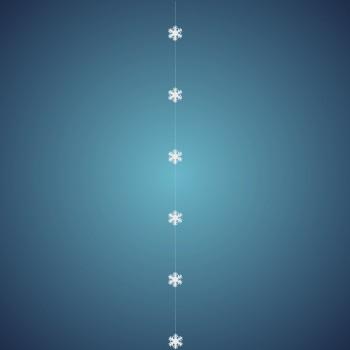 Schneeflockengirlande aus schwer entflammbarer Schneewatte, Dicke: ~ 2 cm, 6 Flocken à 8 cm, Länge: ~ 180 cm