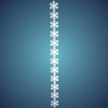 Schneeflockengirlande aus schwer entflammbarer Schneewatte, Dicke: ~ 2 cm, 12 Flocken à 17 cm, Länge: ~ 196 cm