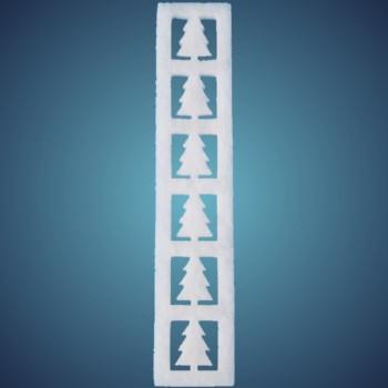 Tannenbordüre aus schwer entflammbar Schneewatte, vertikal, Dicke: ~2 cm, Länge: 50 x 10 cm, 4 Stk./Beutel