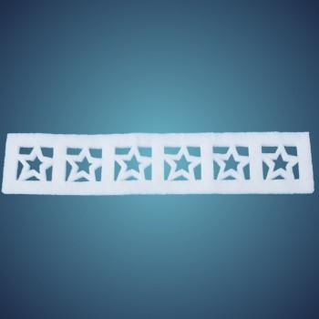 Sternenbordüre aus schwer entflammbarer Schneewatte, Dicke: ~2 cm, Länge: 50 x 10 cm, 4 Stk./Beutel
