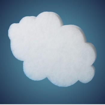 Wolke aus schwer entflammbarer Schneewatte, Dicke: ~ 2 cm, Grösse: 29 cm