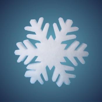 Schneeflocke aus schwer entflammbarer Schneewatte, Dicke: ~ 4 cm, selbststehend, Grösse: 17 cm