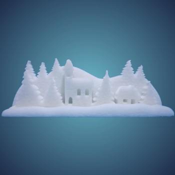 3-D Schneedorf (3-teilig) aus schwer entflammbarer Schneewatte, Größe: ~ 60 x 12 x 21 cm, einzeln verpackt