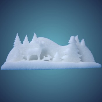 3-D Schneewald (3-teilig) aus schwer entflammbarer Schneewatte, Größe: ~ 50 x 12 x 21 cm, einzeln verpackt