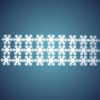 Schneeflockenteppich aus schwer entflammbarer Schneewatte, Dicke: ~ 2 mm, 27 Flocken à 17 cm, Grösse: ~ 0,50 x 1,50 m
