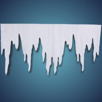 Eiszapfen (Größe: XL) aus schwer entflammbarer Schneewatte, Größe: ~ 125 x 66 cm, Stärke: ~ 1 cm, 2 Stk./Btl.