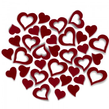 Streudeko Herzen aus Filz in bordeaux
