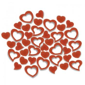 Streudeko Herzen aus Filz in orange