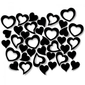 Streudeko Herzen aus Filz in schwarz
