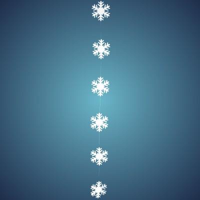 Schneeflockengirlande aus Filz, Dicke: ~ 2 mm, 6 Flocken à 17 cm, Länge: ~ 180 cm