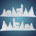 Schneedorfgirlande aus schwer entflammbarer Schneewatte, Dicke: ~ 2 cm, schwer entflammbar, Länge: ~ 200 cm