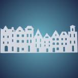 Häuserzeile aus Schneelan, Grösse: ~ 55 x 25 cm, Dicke: ~ 10 mm, einzeln verpackt