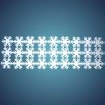 Schneeflockenteppich aus schwer entflammbarer Schneewatte, Dicke: ~ 2 mm, 45 Flocken à 8 cm, Grösse: ~ 0,24 x 1,20 m
