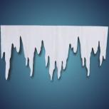 Eiszapfen (Größe: XL) aus schwer entflammbarer Schneewatte, Größe: ~ 125 x 66 cm, Stärke: ~ 2 cm