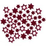 Streudeko Sterne aus Filz 25 g Beutel / bordeaux